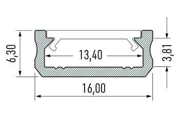 PROFIL ALUMINOWY SREBRNY TYP D 1m + KLOSZ MLECZNY (D SREB -1M)