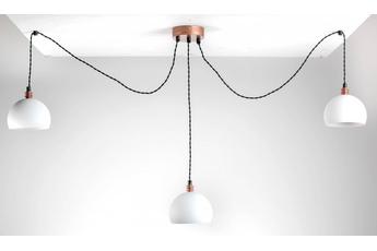 lampa wisząca Pająk 3LP biały/miedź
